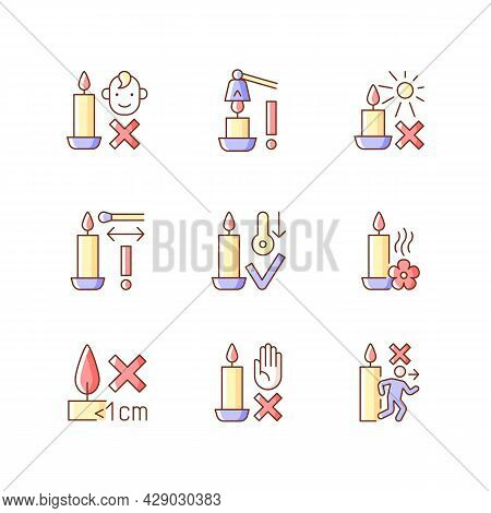 Candle Safety Precautions Rgb Color Manual Label Icons Set. Keep Kids Away. Extinguish Flame Safely.