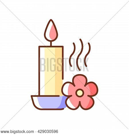 Scented Candle Rgb Color Manual Label Icon. Fragrant Oils And Wax Mixture. Burning With Pleasant Aro