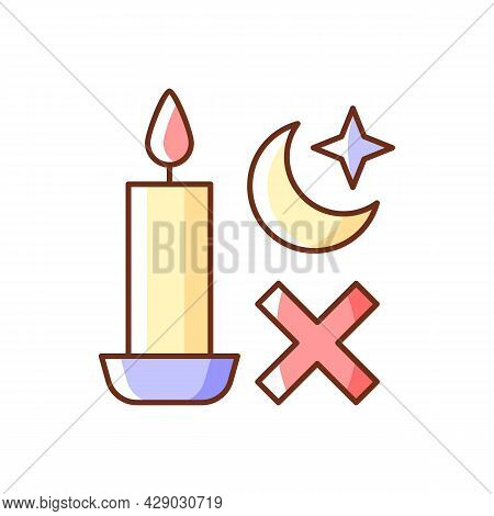 Never Use Candle While Sleeping Rgb Color Manual Label Icon. Avoiding Candles Usage During Power Out