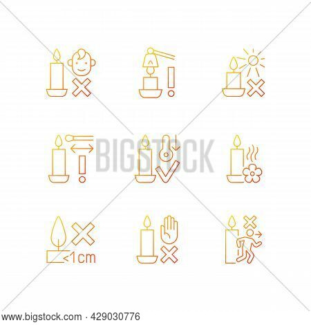 Candle Safety Precautions Gradient Linear Vector Manual Label Icons Set. Keep Kids Away. Thin Line C