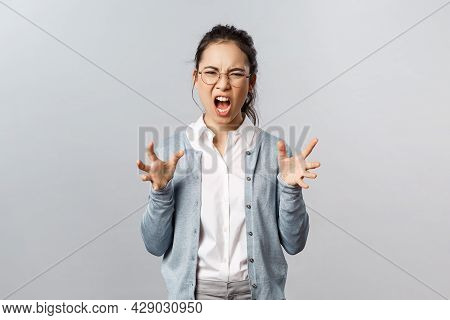 Emotions, People And Lifestyle Concept. Angry Pissed-off, Sick And Tired Asian Woman In Glasses Shou