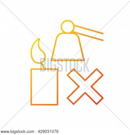 Extinguishing Flickering Candle Gradient Linear Vector Manual Label Icon. Avoiding Soots. Thin Line