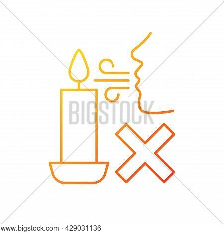 Never Blow Out Candle Flame Gradient Linear Vector Manual Label Icon. Avoid Splashes. Thin Line Colo