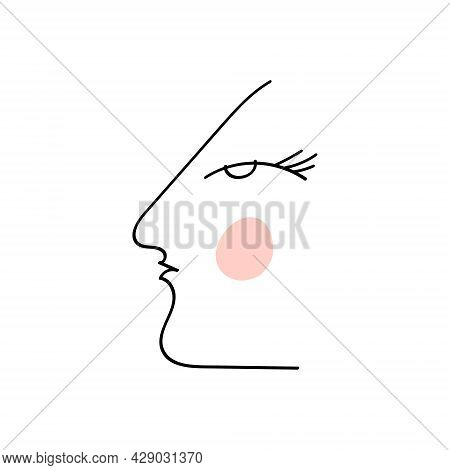 Simple Abstract Face Portrait. Linear Ink Brush. Line Art Current Contemporary Continuous Painting.