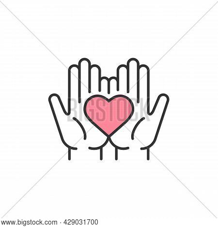 Mutual Trust Rgb Color Icon. Hands Holding Heart. Mature Relationships Signs. Love Sharing. Charity