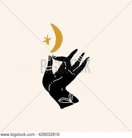 Mudra Hand Minimalist Drawing, Moon Power, Meditation.