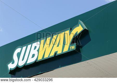 Saint Priest, France - July 27, 2017: Subway Logo On A Wall. Subway Is An American Fast Food Restaur