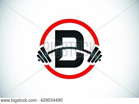 Initial D Monogram Alphabet With A Barbell. Lifting Vector Logo Design. Modern Vector Logo For Bodyb