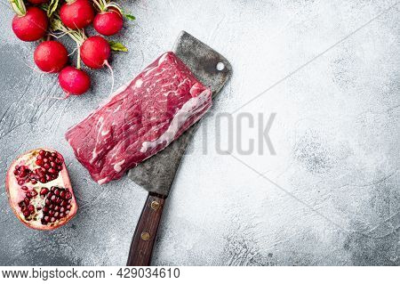 Fresh And Raw Beef Meat. Whole Piece Of Tenderloin With Steaks And Spices Ready To Cook Set, On Old