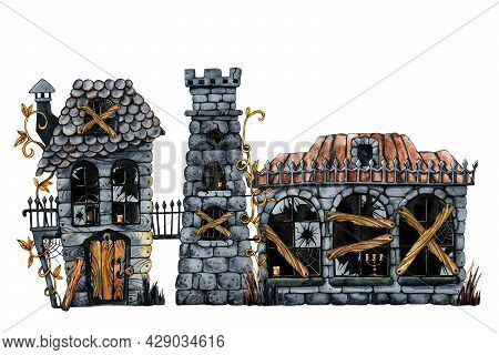 Gothic Castle Clipart, Halloween Horrible House And Dark Windows. Hand Drawn Watercolor Illustration