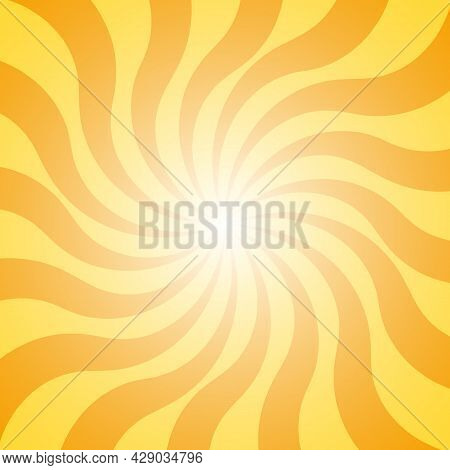 Abstract Retro Yellow Background With Sun Ray. Summer Vector Illustration For Design