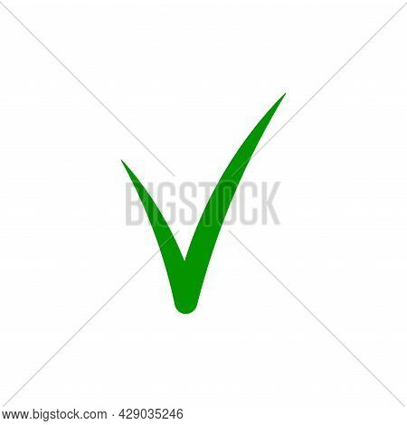 Green Check Mark Tick Icon. Simple Flat Design. Silhouette Mark Checklist. Web Icon. Check Mark Corr