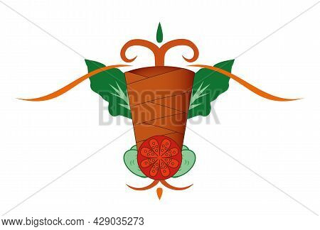 Doner Kebab On A Spit - Arabic And Turkish Meat Food, Stylized Vector Illustration