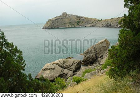 Scenic View Of Huge Cliffs And Sea. Sea Bay Surrounded By Rocky Mountains. The Black Sea Coast Is Su