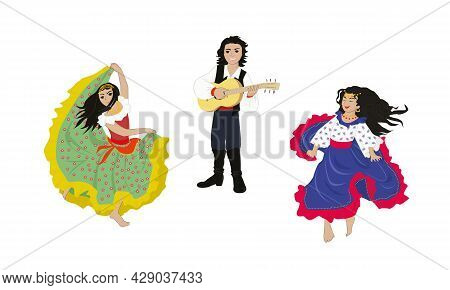 Gypsies. Gypsy Children Are Singing, Playing Guitar And Dancing - Vector Illustration