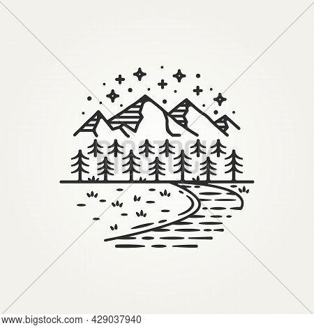 Vintage Mountain Adventure Hand Draw Sketch Line Art Logo Template Vector Illustration Design. Moder