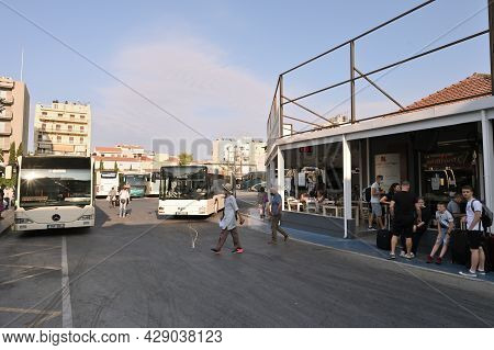 Chania, Greece - July 22, 2021: People Waiting By The Bus At Bus Station Located In Old Town, At Cha