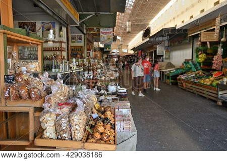 Chania, Greece - July 22: Food For Sale In Market Of Chania, Crete, Greece On July 22 2021. The Cros