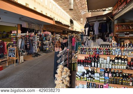 Chania, Greece - July 22: Interior Of Main Market In Chania, Crete, Greece On July 22 2021. The Cros