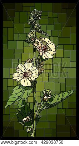Vector Vertical Angular Mosaic With Blooming White Marshmallow Flowers In Vertical Stained Glass Win