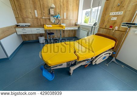 Empty Patient Beds In A Maternity Ward. Modern Light Ward Of Maternity Hospital.