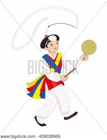 Korean Boy Dancing Korean Folk Dance With Tambourine. Young Dancer Drawn In Vector.