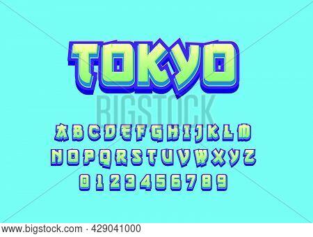 3d Bold Modern Typeface, Vibrant Cool Style Effect, Japanese Graffiti Alphabet Template