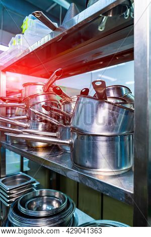 Professional Cooking Equipment. Restaurant Steel Kitchen Workplace.