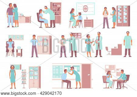 Otolaryngologist Ent Throat Problem Set Of Compositions With Hospital Furniture And Doctor Character