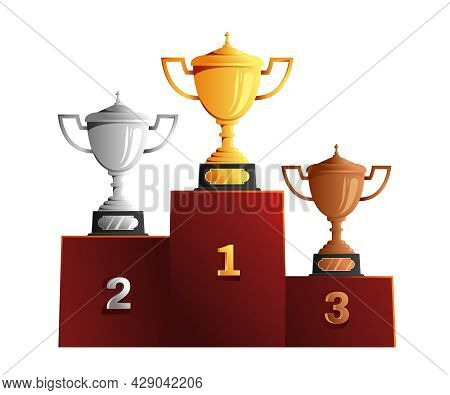 Cups Medals Reward On Pedestal Composition With Winners Podium Image With Bronze Silver And Golden C