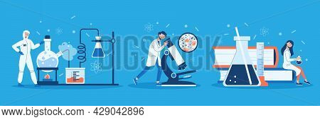 Science Laboratory Design Concept Set With Chemical Experiment Microbiology And Science Descriptions