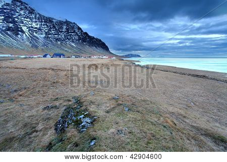 The tiny village of Hali in southern Iceland mid winter poster
