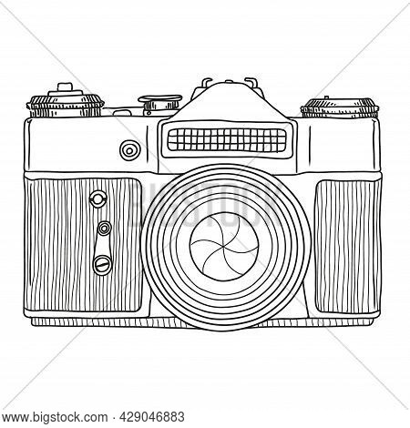 Vector Sketch Of A Reflex Film Retro Camera With A Lens Isolated On A White Background.