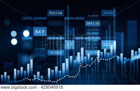 Financial Rising Graph And Chart With Numbers, Bar Diagrams That Illustrate Investment Management On