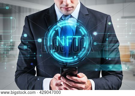 Businessman In Formal Suit Browse The Internet Using Smartphone, Non-fungible Token Hologram, Nft Wi
