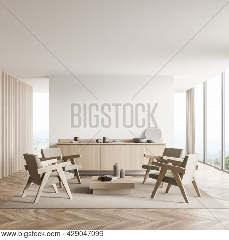 Light Beige Interior Of The Panoramic Seating Area With Empty White Wall Partition, Wood Details, Fo