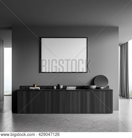 Mockup Banner In The Dark Grey Interior Of The Living Room With Wall Partition, Sideboard And Panora