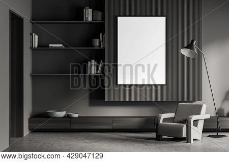 Banner In The Living Room Interior In Dark Grey. Minimalist Shelves, Elegant Wall Detail, Armchair W