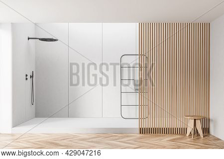 Minimalist Shower Room Interior With Partition, Wooden Details And Parquet Style Flooring, Pairing W