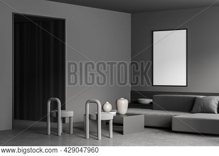 Mockup Banner In The Corner Of Grey Living Room Interior With Wooden Details, Concrete Floor, Two St