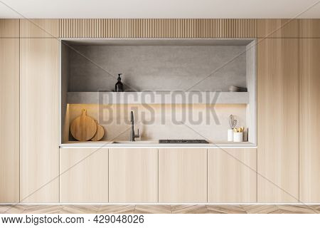 Built-in Kitchen Design, Using Wood For Cabinet Doors And Illuminated Light Grey Niche With Little S