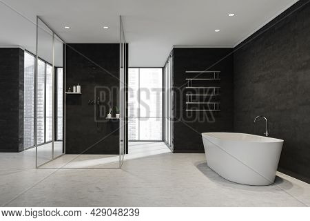 Black And White Bathroom Interior With Stone Floor And Walls, Glass Cabin With Partition, Ceramic Tu