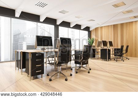 Corner Of The Workspace With Two Combined Office Desks, Rolling Chairs, Panoramic View, Ceiling Over