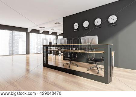 Panoramic Workspace With Double Front Desk, Having Glass Detail, Black Wall With Clocks, Wooden Floo