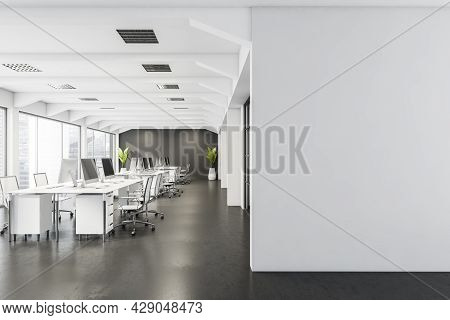 Blank Partition With Office Space, Having Desks With Rolling Chairs, Two Plants, Panoramic View And