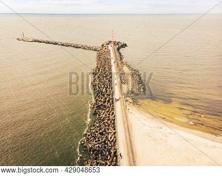 Baltic Seawall Coastline Barricade In Lithuania Coast - Melnrages Molas, Klaipeda