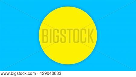 Circle Yellow On Light Blue For Banner Simple Background, Copy Space, Paper Circle Yellow And Light