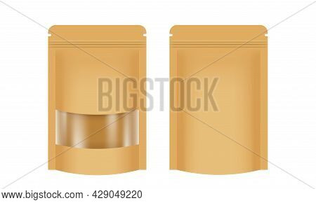 Zipper Paper Bag Brown Packaging With Transparent Window Label, Coffee Bag Paper Kraft Brown, Paper