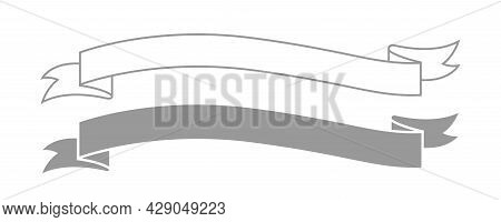 Ribbon Label Grey For Decoration Banner, Ribbon Sticker Frame For Tag Label Decorative, Ribbon Badge