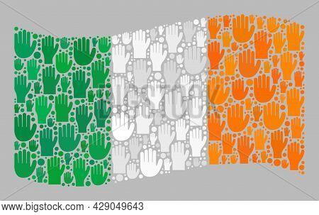 Mosaic Waving Ireland Flag Created Of Raised Up Voting Palm Items. Vector Political Mosaic Waving Ir